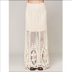 HTF! Free People Mi Amore Cream Maxi Skirt size 0
